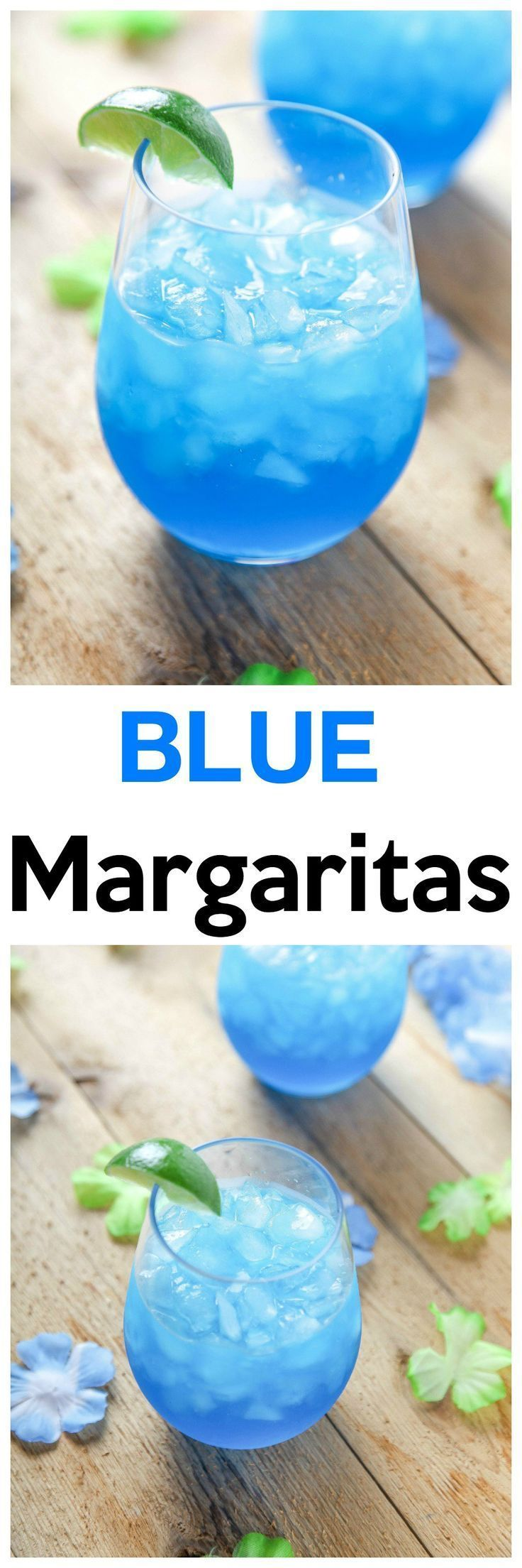 Blue Margaritas: These incredibly refreshing margaritas are SO easy!They only require 4 ingredients, and no blender/cocktail shaker! #Cocktailrecipes