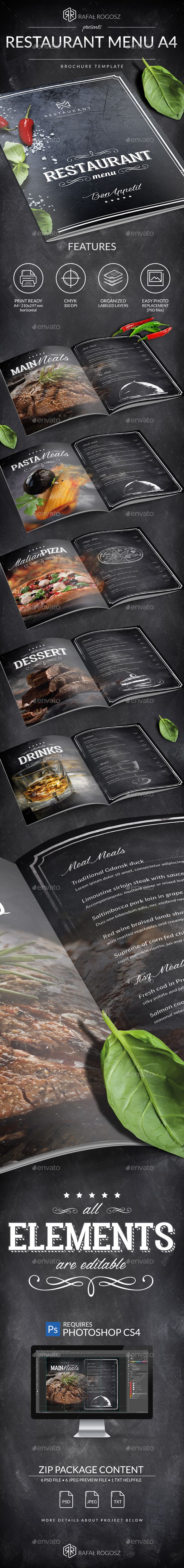 Blackboard Luxury Restaurant Menu A4 — Photoshop PSD #black #table tent • Download ➝ https://graphicriver.net/item/blackboard-luxury-restaurant-menu-a4/19681100?ref=pxcr