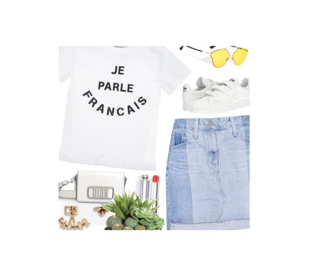 """""""- I speak French -"""" by lolgenie ❤ liked on Polyvore featuring Piel Leather, Être Cécile, adidas and AG Adriano Goldschmied"""