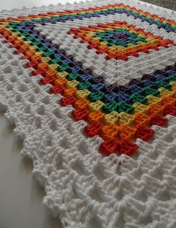 Rainbow Crochet Baby Blanket // Granny Square by TheUnknotting                                                                                                                                                                                 More