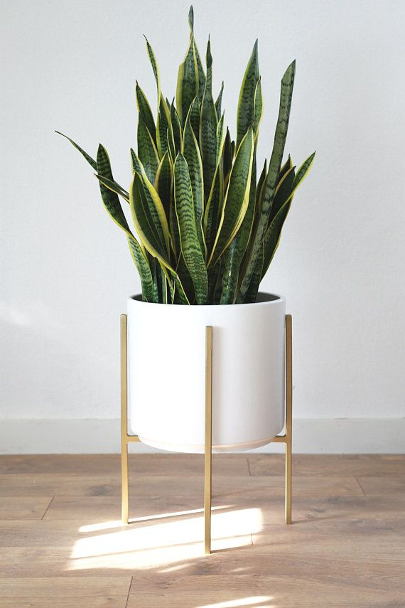 The Potted Earth Co Large Ceramic Cylinder With Gold Metal Stand Is The Perfect Modern Planter Set Fo Mid Century Modern Planter Metal Plant Stand Plant Decor