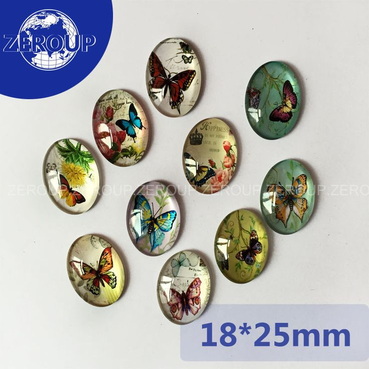 20pcs/lot 18*25mm Wholesale Butterfly Patterns Pictures Glass Cabochon Flat Back Embellishments Oval Mixed Colors