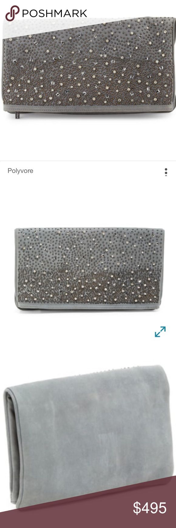 "CLUTCH Alice + Olivia Rhinestone Waterfall Me NWT Love it or list it?!  Please help me decide!  -           Alice + olivia - me embellished leather fold-over clutch - a striking gradation of miniature beads and lustrous stones defines this flap silhouette of rich leather, a stylish choice for both day and evening. Zip top closure. Exterior features 1 zip wall pocket and 1 top zip pocket with tacked mirror. Interior features 1 zip pocket and 2 slip pockets - Dust bag included. Approx. 7-13"" H…"