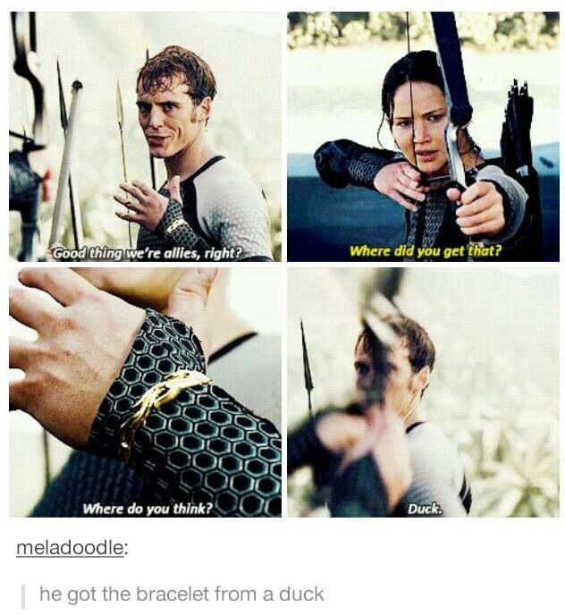 Hunger Games Catching Fire Finnick Katniss Bracelet funny tumblr movie exactly what i thought when he said that!