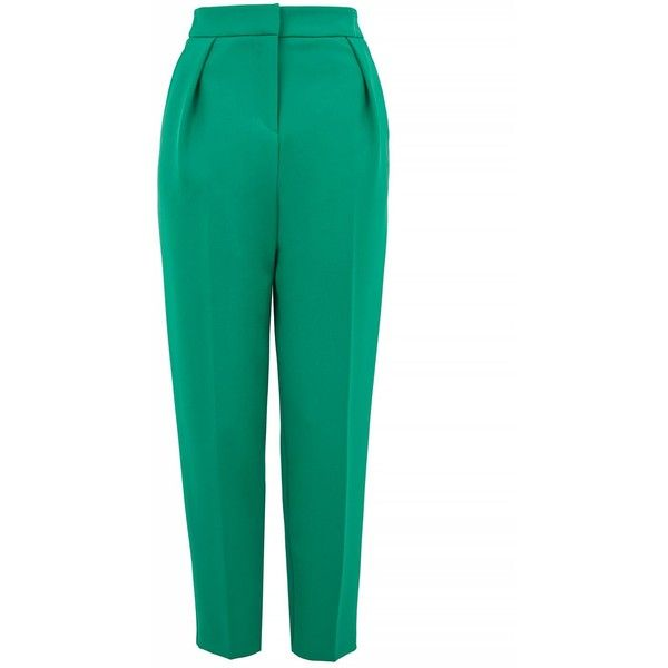 Topshop Tall Tailored Clean Peg Trousers ($50) ❤ liked on Polyvore featuring pants, topshop, green, topshop pants, topshop trousers, tailored fit pants, workwear pants and tall trousers