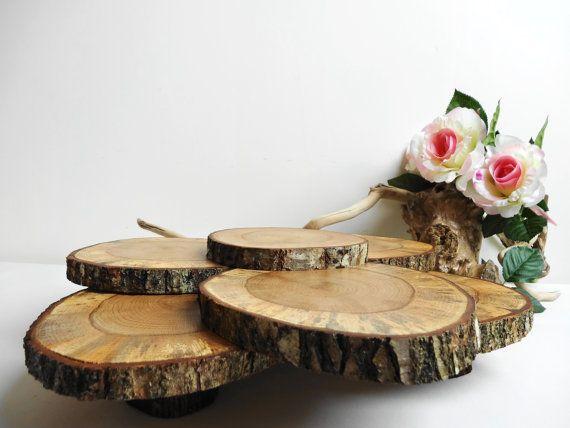 Cupcake-Ständer rustikales Herzstück Baum Scheiben Cupcake