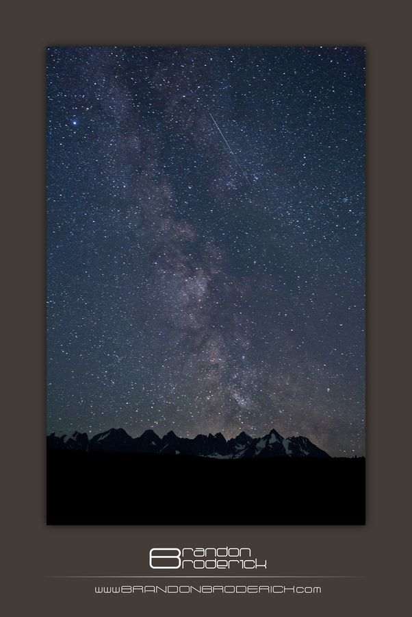 The Milky Way and a Shooting Star over the Seven Sisters near Kitwanga, BC