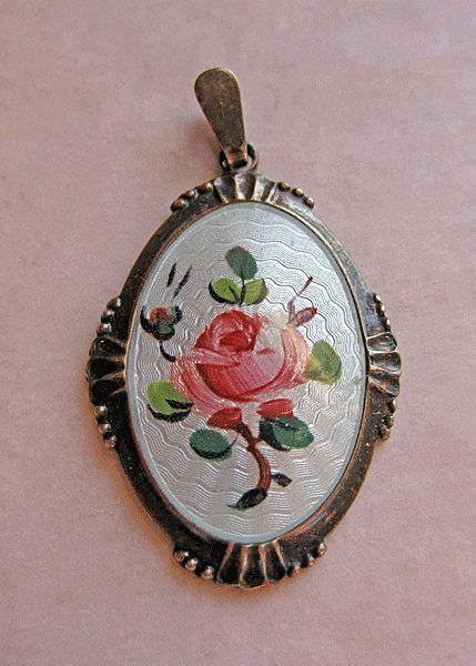Sterling Enamel Norway 925S Guilloche Rose Pendant by Arne Nordlie from quick-red-fox on Ruby Lane