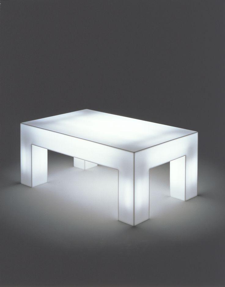 Luminous Table, Shiro Kuramata, Year: 1969, Body: milk-white acrylic board, lamp, Manufacturer: Ishimaru Co., Ltd. Collection: Kuramata Design Office