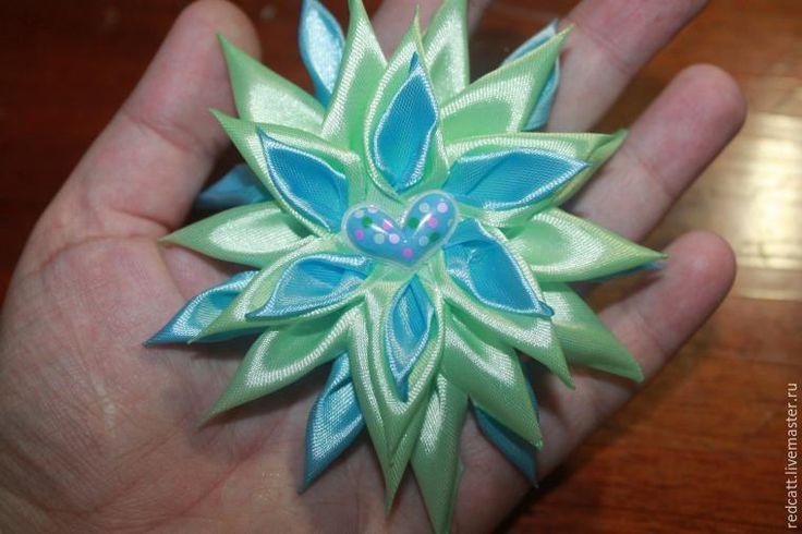 Мастер-класс: мятно-голубой цветок в технике канзаши - Ярмарка Мастеров - ручная работа, handmade