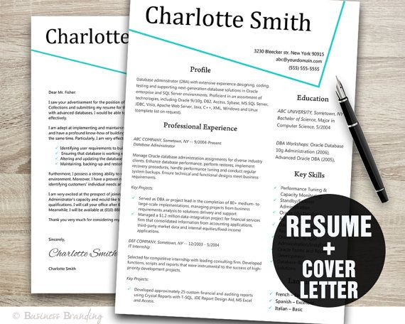 resume and cover letter template resume by businessbranding 1500