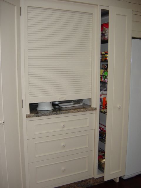 Roller Door And Pull Out Pantry Hide Kitchen Appliances