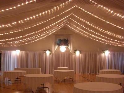 drapped ceilingReceptions Decor, Wedding Receptions, Trav'Lin Lights, White Lights, Wedding Stuff, Christmas Lights, Receptions Ideas, Ceilings, Gym