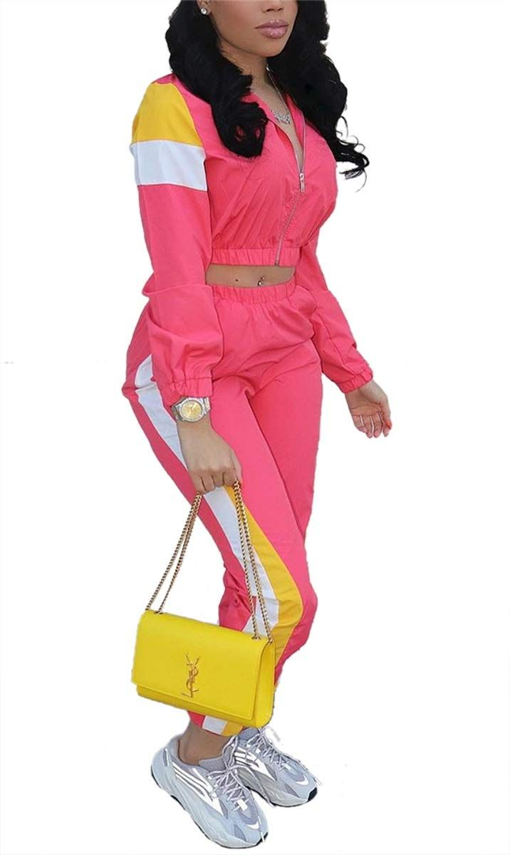 Women Casual Tracksuit 2 Piece Zip Top and Elastic Waistband Pant Women Windbreaker Tracksuit Sets