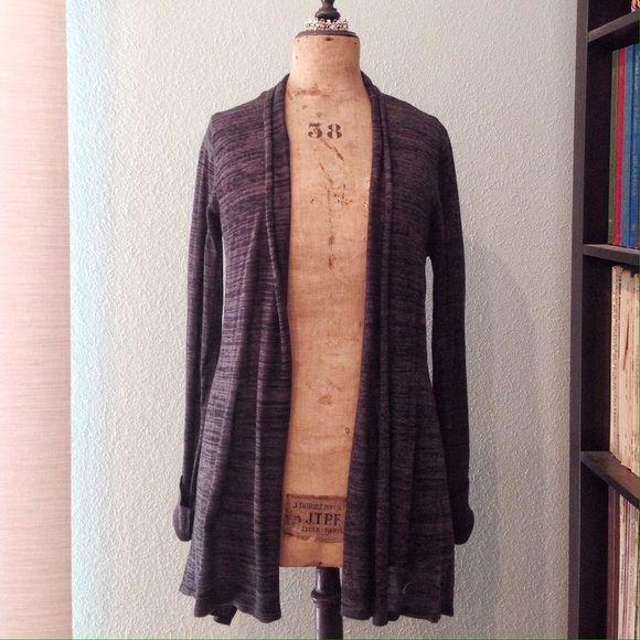 John & Jenn Hi-Low Dark Gray Cardigan Neiman Marcus John & Jenn knit cardigan with see through back. Size L. 100% acrylic. Dark grey and black stripes, back is black chiffon. John & Jenn Sweaters Cardigans