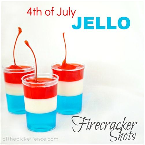 4th of July Jello Firecracker Shots - Adults Only alcoholic Variation and Spiked Cherries