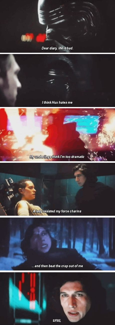 Kylo Ren, if only you were a little more terrifying, you'd get some respect. And no you still wouldn't get the girl.