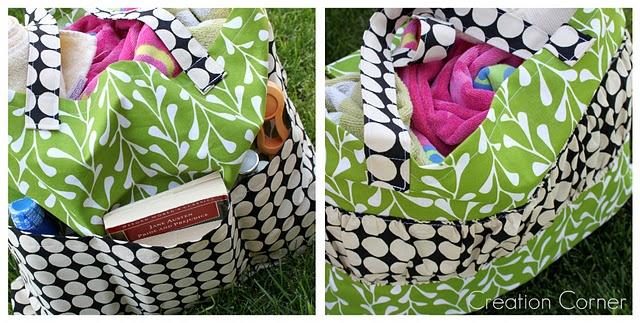 canvas bag tutorial.  outside has ruffled edge and pockets.