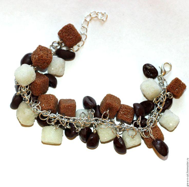 Купить Браслет Кофе с тростниковым сахаром - Браслет ручной работы, браслет на руку