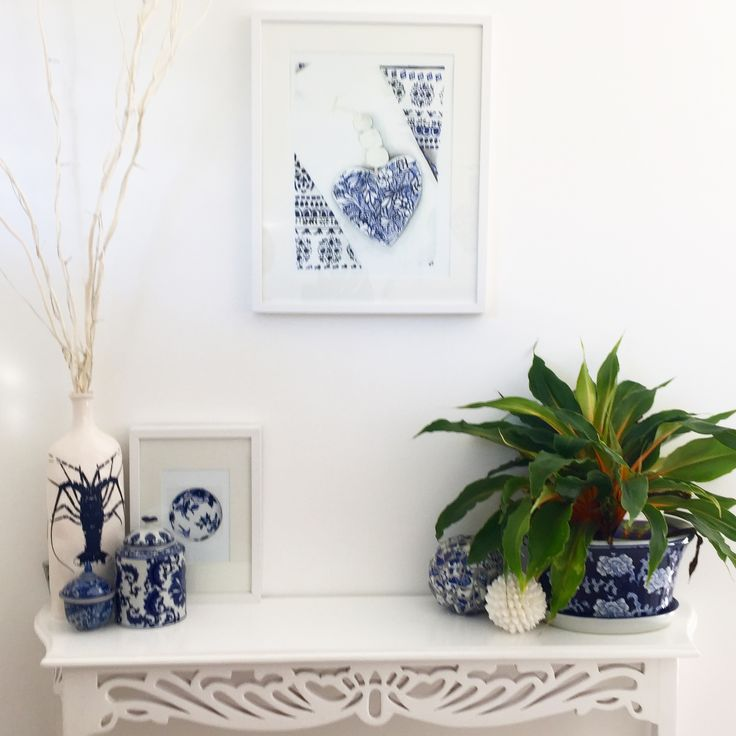 I love this corner of my dining room showing off my blue and white art... prints are available through Etsy or at www.traceyfletcherking.com