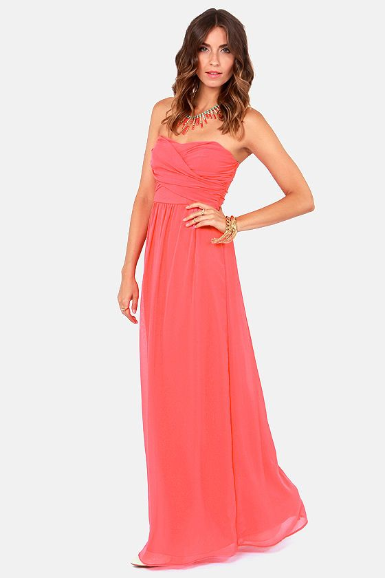 Exclusive Slow Dance Strapless Coral Maxi Dress  Coral maxi ...