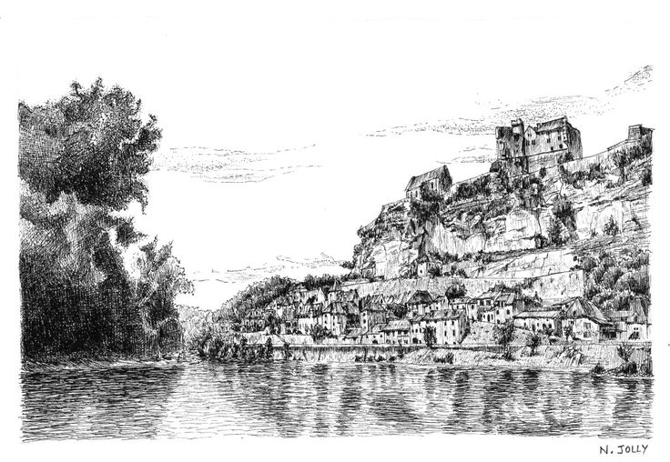 Beynac and the Dordogne - France. Black ink drawing by Nicolas Jolly. #drawing #ink #blackandwhite #art #village