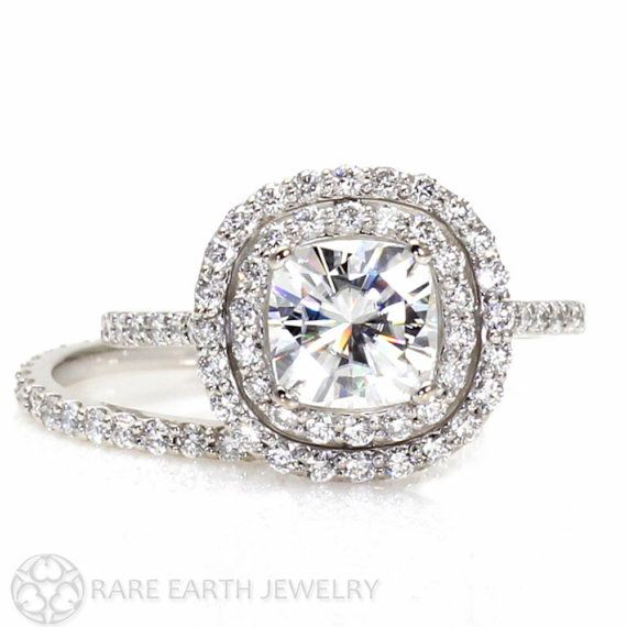 Moissanite Double Halo Ring Wedding Set Cushion Moissanite Engagement Ring & Wedding Band 14K or 18k Gold Conflict Free on Etsy, $2,594.00