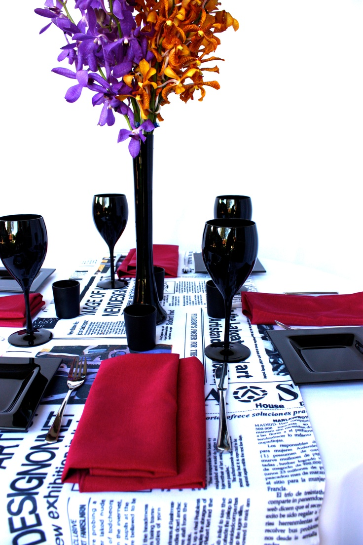 Linen, Vases and Floral Design - Decor It Events. Vogue Style Linen with Raspberry napkins in Black Gloss Fish Bowl #centerpiece #tablelinen #styling #newspaper #linen #blackandwhite #weddings #events #wedding #linenhire #linen #melbourne #melbourneevents #decorations #inspiration #tablelinen #decoritevents (32)