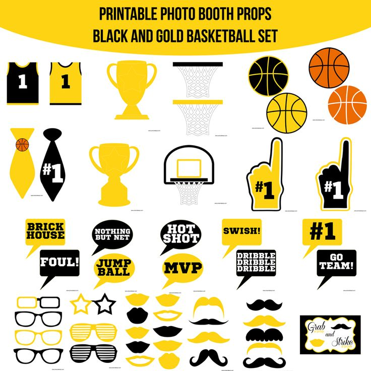 16 best sports party images on pinterest printable photo booth instant download basketball black gold printable photo booth prop set diy solutioingenieria Images