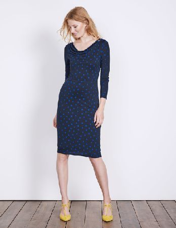 #Boden Helena Cowl Neck Dress Navy Polka Dot Women #With its flattering cowl neck and fitted shape, this is the perfect dress for your 9-5 and beyond. Its made with wool to keep you warm, and lyocell to give you that soft, drapey feel.