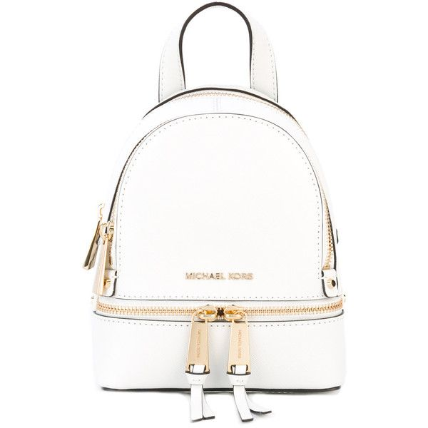 Michael Michael Kors Rhea extra small backpack (1.610 DKK) ❤ liked on Polyvore featuring bags, backpacks, white, leather bags, zip top bag, hardware bag, day pack backpack and white leather backpack