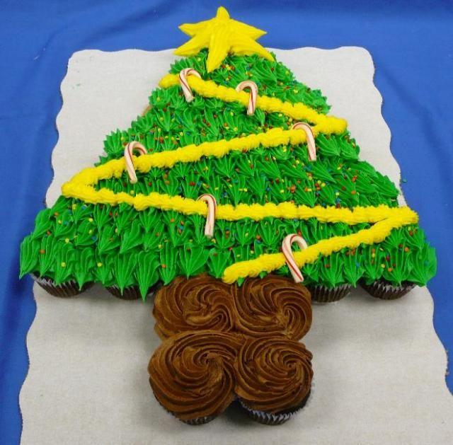 how to make a christmas tree cupcake cake