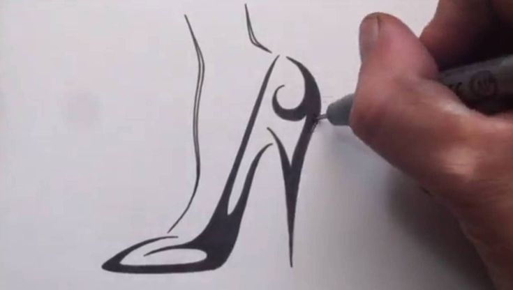 How to Draw a High Heel Shoe - Tribal Tattoo Design, via YouTube.