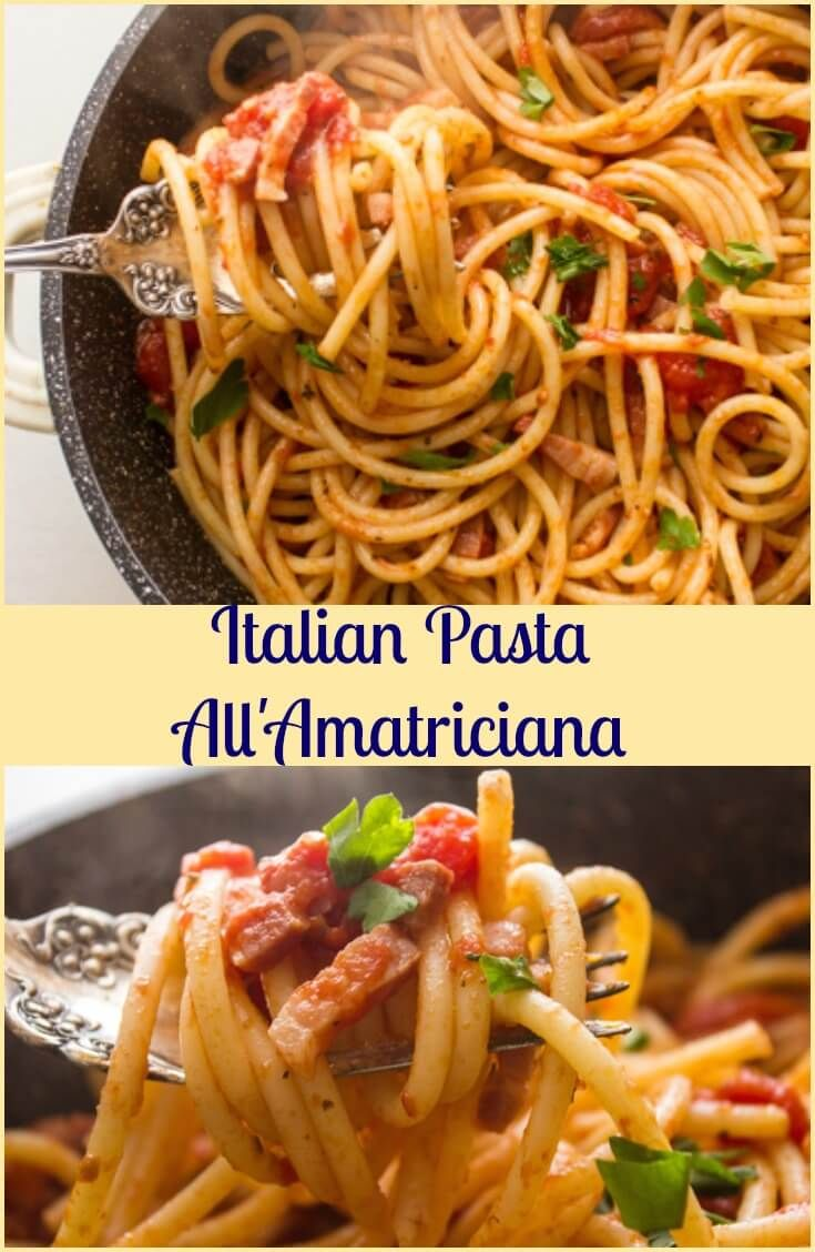 Pasta AllAmatriciana, a delicious, fast and easy Italian Pasta recipe, pancetta/bacon, spices and tomatoes. Perfect anytime meal. via @https://it.pinterest.com/Italianinkitchn/