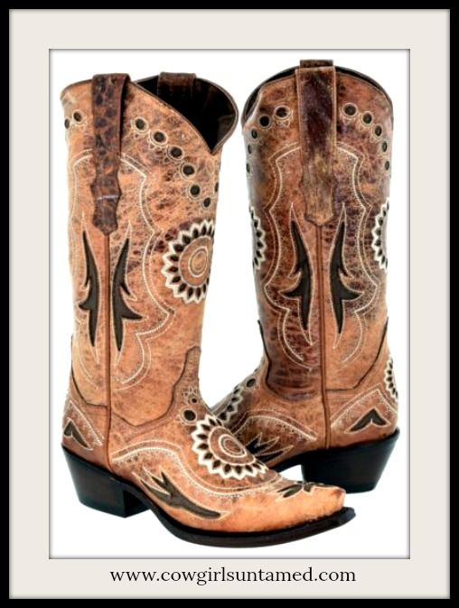 BOHEMIAN COWGIRL BOOTS Cognac Brown Inlay & Tan Embroidery Genuine Leather Boots  #boots #rodeo #NFR #fashion #cowgirlboots #westernboots #cowgirl #leatherboots #leather #floral #embroidery #brown #sunflower #boho #western #barrelracing #style #inlay