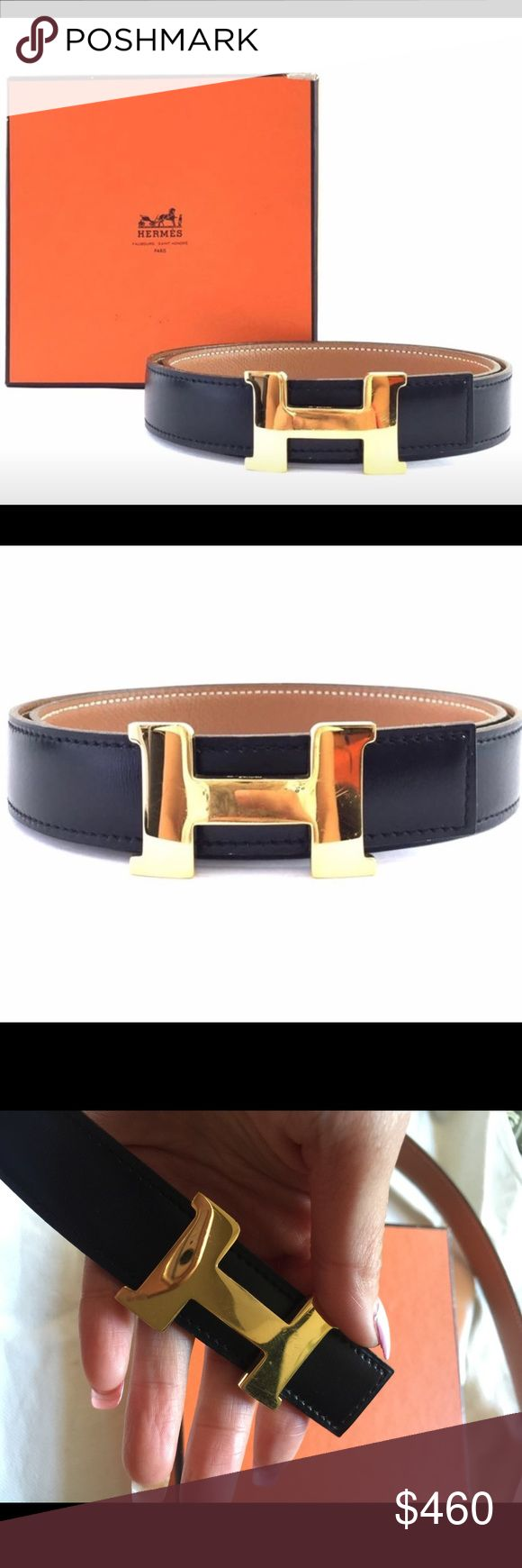 """Hermes Belt Hermes 24mm Gold H belt reversible belt black on gold. Gently used  Retail price $664.00  Authentic Hermes belt in very excellent condition.  From front hole to 1st through 3rd hold 26.5""""-27.5""""-28.5""""  Box is included Hermes Accessories Belts"""