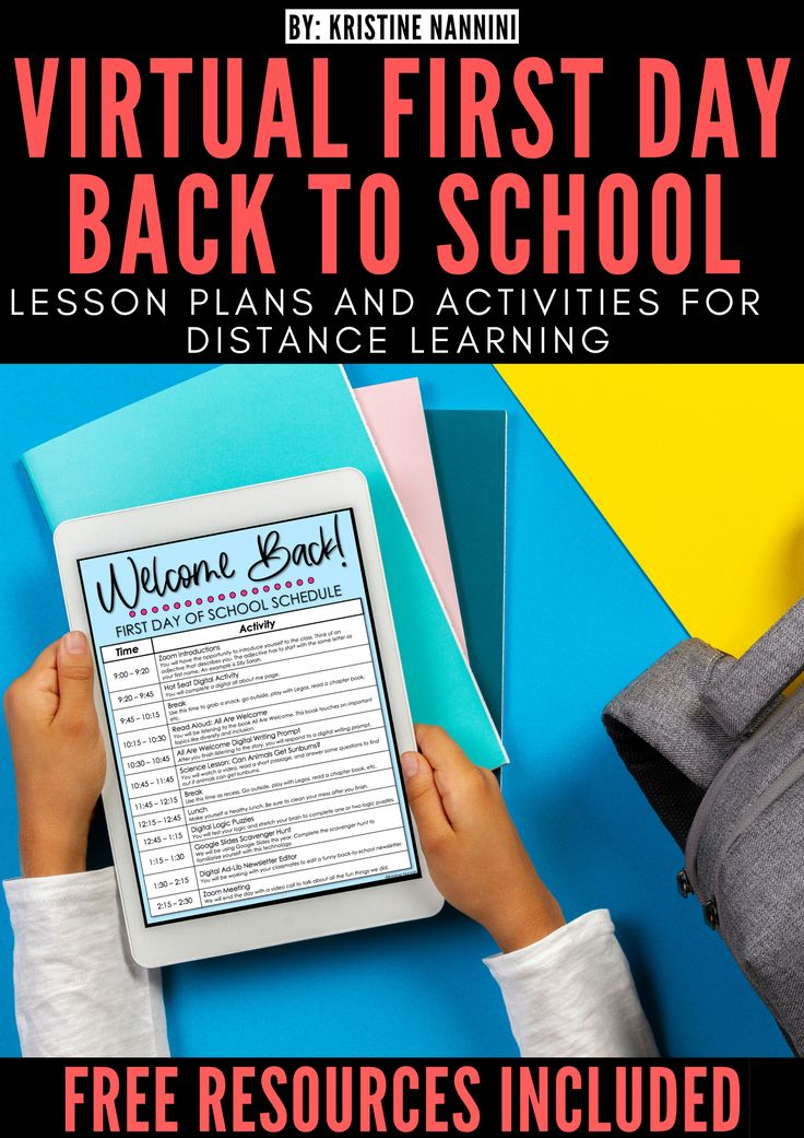 Virtual First Day Back to School Lesson Plans and