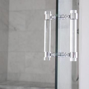 Seamless Glass Door with Lux Holdups Lucite Shower Door Handle