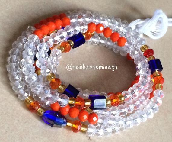 Blue African Bead Bracelet 11mm Ghana Cylinder Glass Large Hole 7.5 Inch Strand