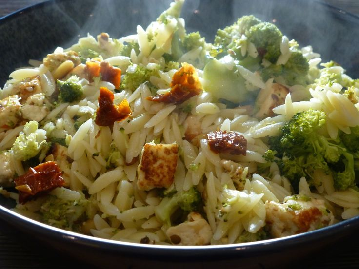Orzo with broccoli and paneer