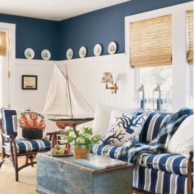 love trunk coffee table and the wainscoting cape cod cottage beautiful nautical interior kitchen home decor - Nautical Home Decor