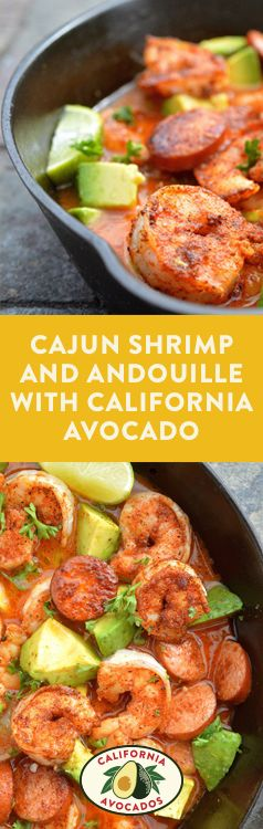 Turn up the summer heat with this Cajun Shrimp and Andouille with California Avocado.
