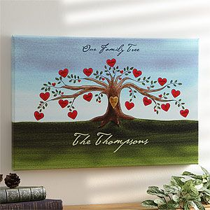 Personalized Family Tree Watercolor Canvas Art  - Love the little heart shaped flowers that have each family members name on it.  A Valentine's Day gift Grandma will treasure!