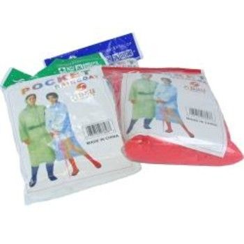 Raincoat With PocketDon't leave home without this poncho raincoat with hood, you do not want to get caught in the rain. Small enough to fit into your pocket or purse. 100% waterproof Size: One size fits most adults Color: Assorted Packaging: Each poncho is packaged in a poly bag with paper insert