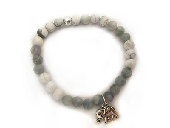 White Howlite & Dyed Jade Elephant Bracelet / Beaded Bracelets