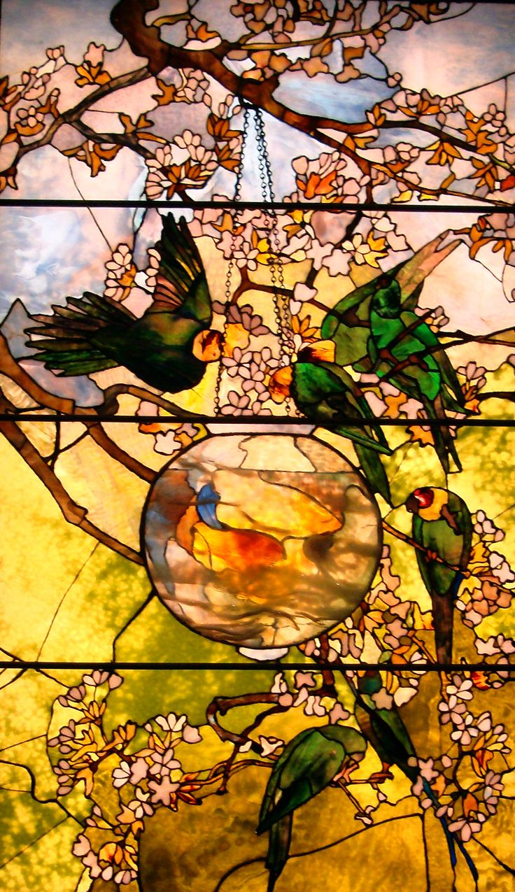"""PARAKEETS and GOLD FISH BOWL"", c. 1893 Louis Comfort Tiffany, (1848-1933)"