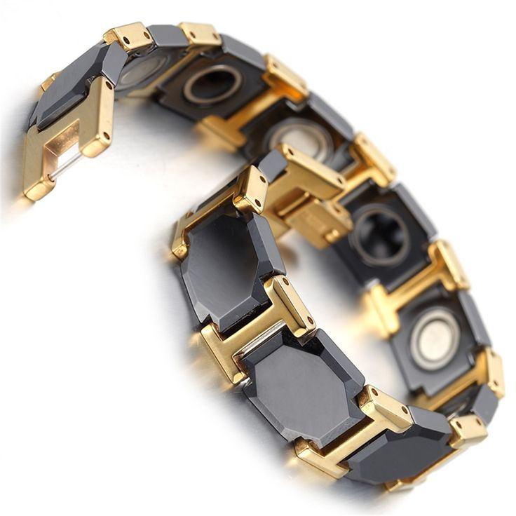 """Cheap Charm Bracelets, Buy Directly from China Suppliers:PRODUCT ID: kb1499METAL: TungstenCOLOR: blackgoldSIZE: L:7.5"""", W:11mm"""