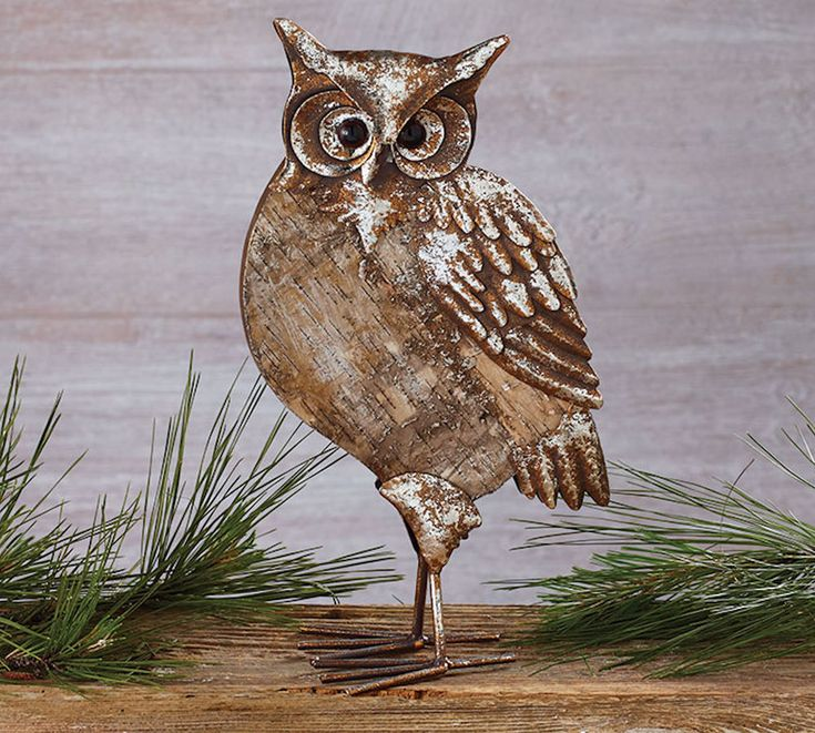 "Owl Figurine 14"" Tall Birch-bark Metal Antiqued Look Burton+Burton Gift #BurtonBurton #RusticPrimitive"