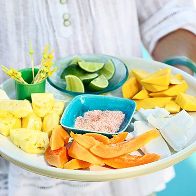 This platter can be any mix of those plus pineapple and fresh coconut, served with lime wedges and a dipping salt of three parts kosher salt and one part cayenne.Summer Parties, Fancy Fruit, Fruit Platters, Outdoor Parties, Parties Ideas, Pools Parties, Fruit Dips, Summer Fruit Desserts, Parties Theme