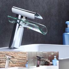 Bathroom Faucet, Advanced Modern glass waterfall contemporary Chrome Brass Bathroom basin sink Mixer waterfall Tap 2013 XP-007(China (Mainland))